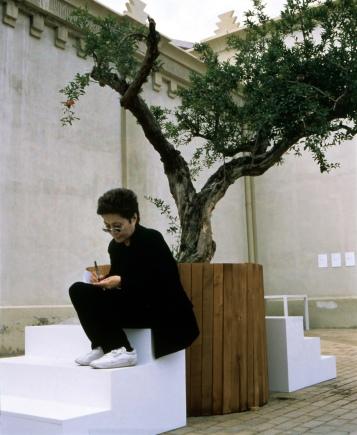 "yoko ono yoko ono installing ""wish tree"" EnTrance june 23 - july 25, 1997 lonja del Pescado, Alicante, Spain Photo Credit: Miguel Angel Valero courtesy Lenono Photo Archive and Generalitat Valenciana photo credit must accompany any usage ID#11"